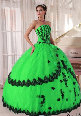 Fashionable Puffy Strapless with Appliques for Green Quinceanera Dress for 2014