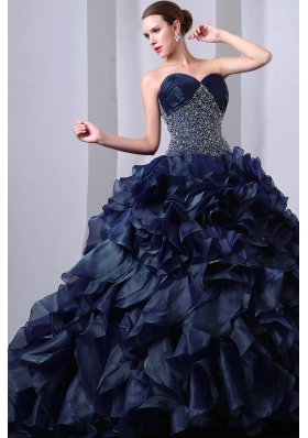 Luxurious Sweetheart Brush Train Beading Princess Quinceanea Dresses in Navy Blue