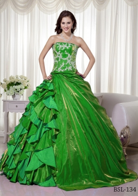 New Style Puffy Strapless for 2014 Appliques Quinceanera Dress with Ruffles