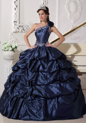 One Shoulder Appliques and Pick-ups Quinceanera Gown in Navy Blue