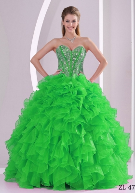 Pretty Ruffles Puffy Sweetheart Beaded Decorate Quinceanera Gowns for 2014