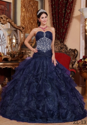 Princess Sweetheart Beading 2014 Quinceanera Dresses with Navy Blue