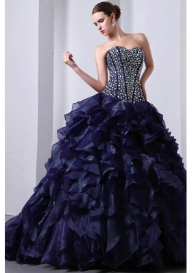 Princess Sweetheart Beading and Ruffles 2014 Quinceanea Dress with Brush Train