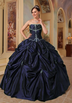 Puffy Strapless Long Simple Quinceanera Dresses with Beading