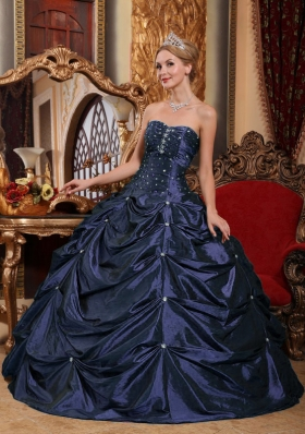 Puffy Strapless Navy Blue Quinceanera Dresses with Beading