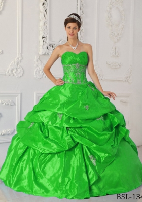 2014 Elegant Green Puffy Sweetheart Appliques Quinceanera Dress with Pick-ups