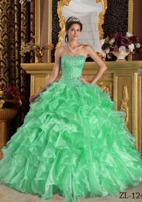 2014 Exclusive Green Puffy Sweetheart with Ruffles for Quinceanera Dress