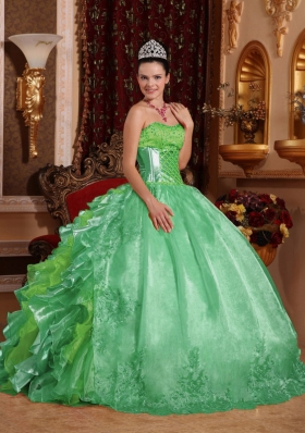 2014 Puffy Strapless Green Lace and Embroidery Quinceanera Dress with Ruffles
