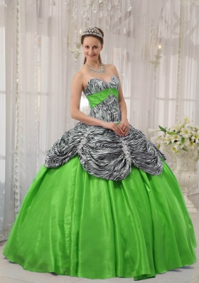 2014 Spring Green Puffy Sweetheart Quinceanera Gowns with Pick-ups