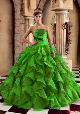 Affordable Puffy Strapless for 2014 Ruffles Quinceanera Dress with Appliques