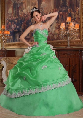 Beautiful Puffy Sweetheart Lace Appliques Decorate for 2014 Green Quinceanera Dress