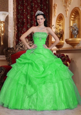 Classical Spring Green Puffy Strapless for 2014 Beading Quinceanera Dress with Appliques