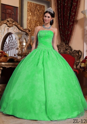 Cute Green Puffy Strapless with Lace Appliques Quinceanera Dress for 2014