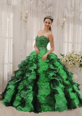Cute Puffy Sweetheart with Ruffles and Beading for 2014 Green and Black Quinceanera Dress