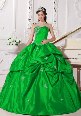 Elegant Green Puffy Sweetheart for 2014 Beading Quinceanera Dress with Pick-ups