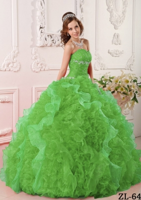 Elegant Green Puffy Sweetheart with Ruffles and Beading for 2014 Quinceanera Dress