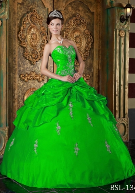 Fashionable Green Puffy Sweetheart for 2014 Appliques Quinceanera Dress with Pick-ups