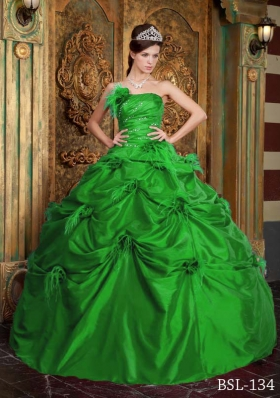 Gorgeous Green Puffy Strapless Hand Made Flowers Decorate for 2014 Quinceanera Dress
