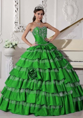 Green Puffy Sweetheart for 2014 New Style Quinceanera Dress with Flowers and Embroidery