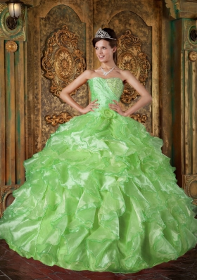 Inexpensive Puffy Strapless for 2014 with Beading and Ruffles for Green Quinceanera Dress
