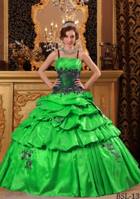Lovely Green Puffy Straps Appliques for 2014 Quinceanera Dress with Pick-ups