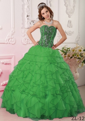 New Style Dark Green Puffy Sweetheart with Ruffles and Beading for 2014 Quinceanera Dress