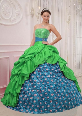 Perfect Puffy Strapless for 2014 Green Quinceanera Dress with Pick-ups and Beading
