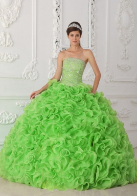 Popular Organza Spring Green Puffy Strapless Decorate for 2014 Quinceanera Dress with Beading