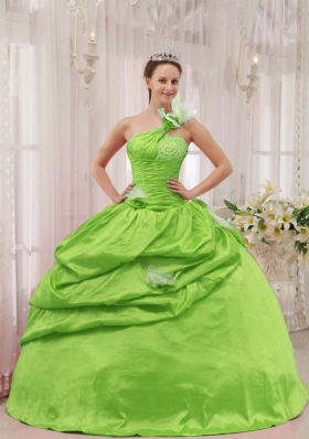Pretty Puffy One Shoulder for 2014 Spring Green Quinceanera Dress with Pick-ups and Beading