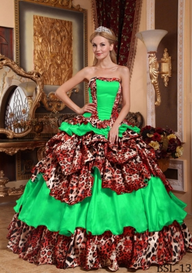 Puffy Strapless Leopard Pick-ups Decorate for 2014 Green Quinceanera Dress