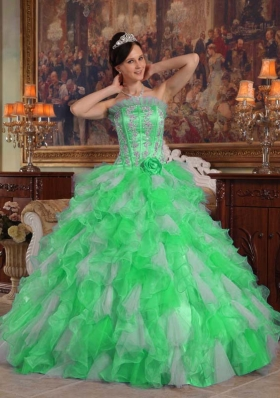 Puffy Strapless with Flowers and Appliques Decorate for 2014 Green Quinceanera Dress