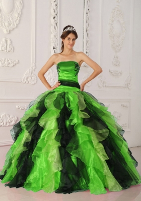 Sweet Puffy Strapless with Appliques and Ruffles for 2014 Green and Black Quinceanera Dress