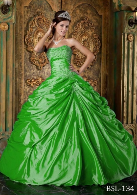 The Most Popular Green Puffy Strapless Appliques Decorate for 2014 Quinceanera Dress