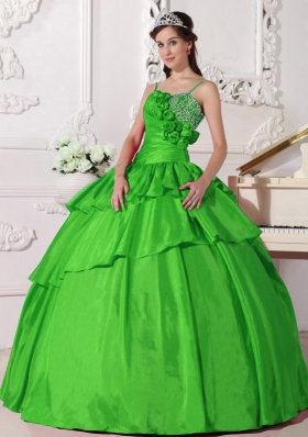 The Super Hot Spring Green Puffy Straps for 2014 Beading Quinceanera Dress