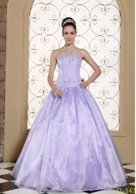 2014 Elegant Quinceanera Dresses Strapless Embroidery Bodice and Beading