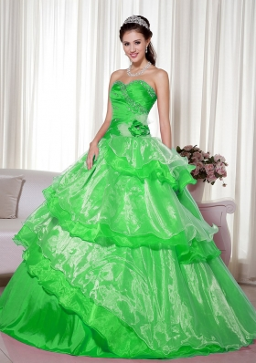 2014 Spring Green Puffy Sweetheart with Beading and Hand Made Flower Quinceanera Dress