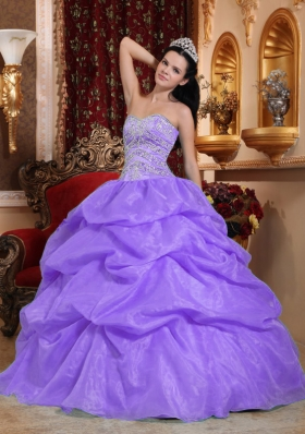 Affordable Puffy Sweetheart Beading Quinceanera Dresses Lavender