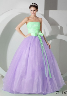 Classical Puffy Strapless Sash and Ruching Quinceanea Dresses for 2014