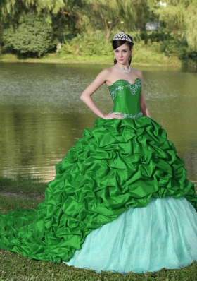 Cute Appliques and Pick-ups Brush Train Exquisite Style For 2014 Green Quinceanera Dress
