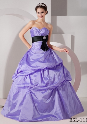 Fashionable Puffy Sweetheart 2014 Sashes Quinceanea Dress with Pick-ups