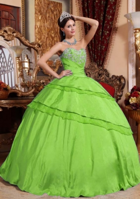 Fashionable Puffy Sweetheart with Appliques for 2014 Spring Green Quinceanera Dress