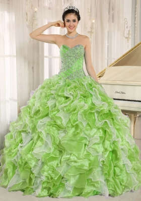 Lovely Spring Green Beaded Bodice and Ruffles Custom Made For 2014 Quinceanera Dress