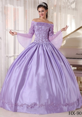 Modest Lavender Puffy Off The Shoulder Appliques Quinceanera Dresses for 2014