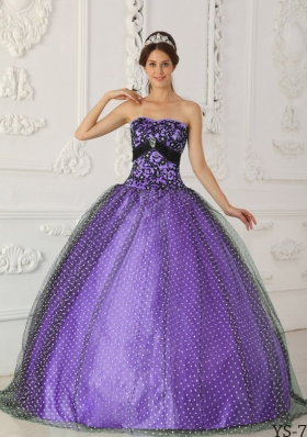 Puffy Strapless 2014 Beading and Appliques Quinceanera Dresses