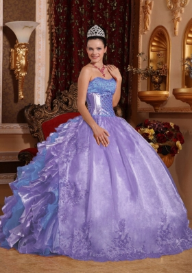 Puffy Strapless Ruffles and Embroidery Lavender Quinceanera Dress for 2014