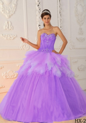 Romantic Princess Sweetheart Ruffles and Beading Quinceanera Dresses for 2014