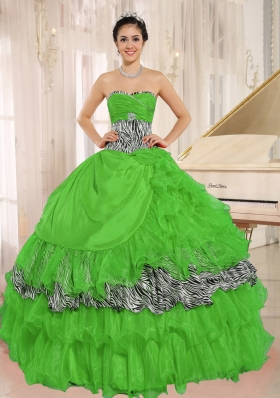 Wholesale Green Sweetheart 2014 Zebra Quinceanera Dress with Ruffles and Beading