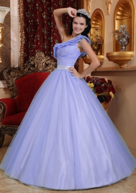 2014 Classical Princess One Shoulder Ruching Quinceanera Dresses