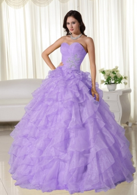 2014 Exclusive Lavender Puffy Sweetheart Appliques Quinceanera Dresses with Ruffles