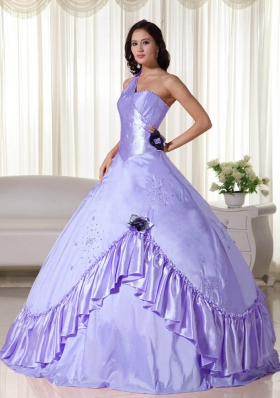 2014 Lavender Puffy One Shoulder Quinceanera Dresses with Beading